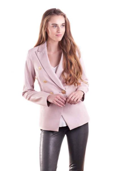 Bridget Faux Leather Cross Over Blazer at ellemaestudios.com.