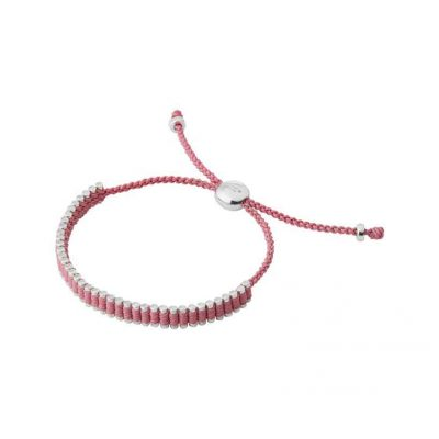 Sterling Silver & Dusky Pink Cord Mini Friendship Bracelet at Links of London.