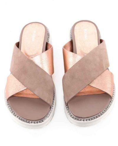 Bina Slide Sandals in Dusty Rose Pink at Rudsak.