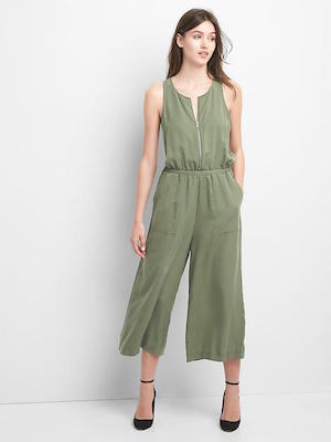 Gap army green Zip-Front Jumpsuit