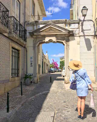 Michelle wandering around the streets of Lisbon