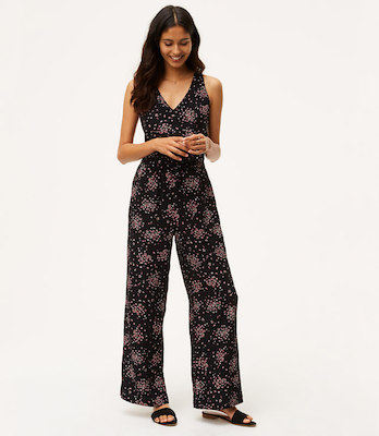 Loft petaled floral tie back jumpsuit