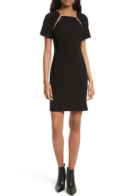Alice + Olivia Black Kristiana pearl Embellished Split Seam Sheath Dress