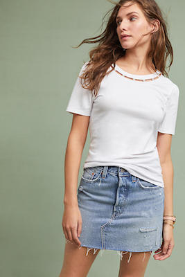 Anthropologie white pearl embellished t shirt