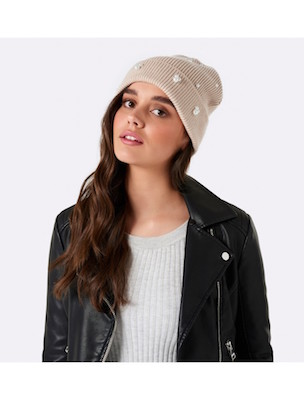 Evernew pearl embellished beanie hat