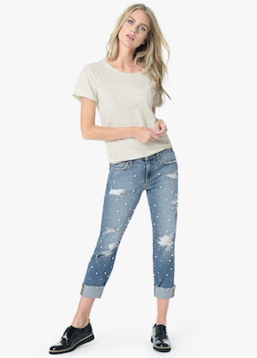 Joe's Jeans The smith mid rise straight ankle jean, light blue denim embellished with pearls