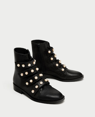 Zara black leather ankle boots with faux pearls