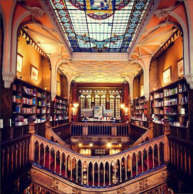 Inside shot of Livraria Lello bookstore in Porto Portugal