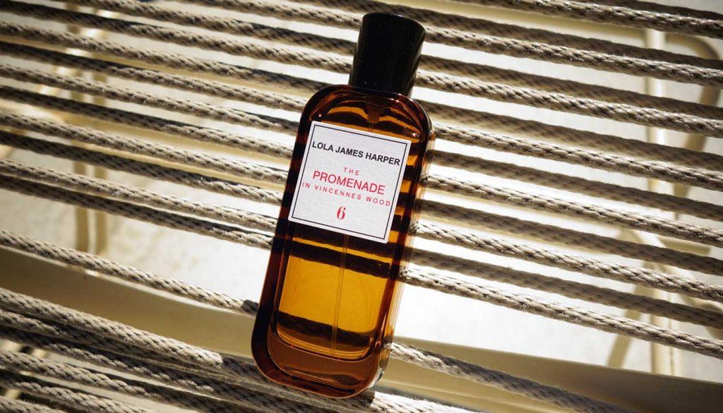 """Lola James Harper home fragrance """"the Promenade in vincennes wood"""" bottle"""