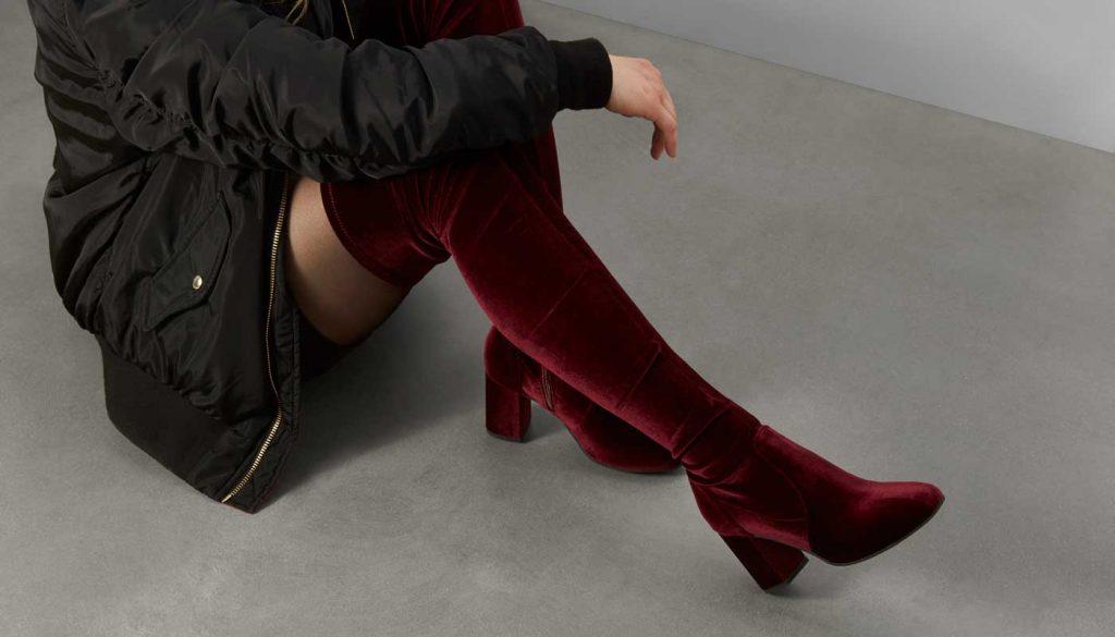 little burgundy amber velvet over the knee boot