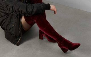 little burgundy amber velvet over the knee boot
