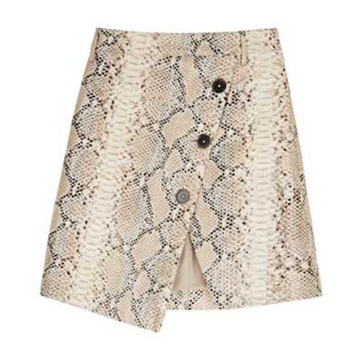 Olivia Palermo x Banana Republic Snake Asymmetrical Button Wrap Skirt