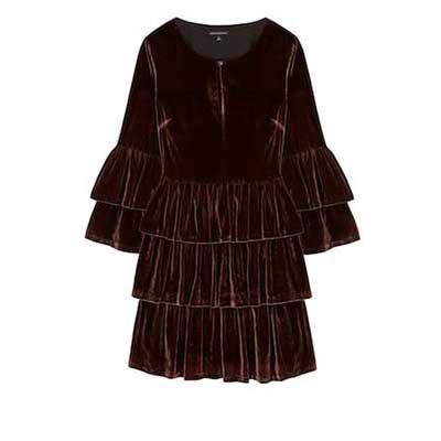 Olivia Palermo x Banana Republic Long-sleeve Tiered Velvet Shirtdress
