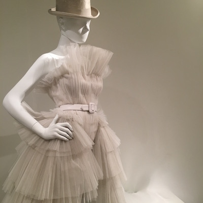 A wedding dress ensemble designed by Jean Paul Gaultier for the exhibit in Montreal