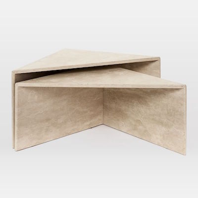 Nesting Travertine side tables, $700 at West Elm