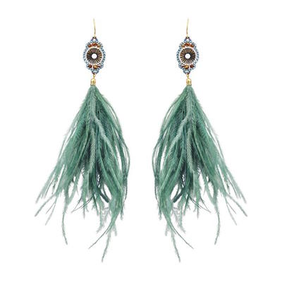 Aqua Feather Earrings, $25 at Winners.