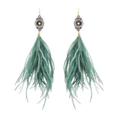 Aqua Feather Earrings, $25 at Winners.