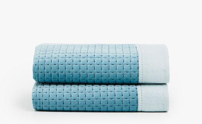 Velvet quilt with linen edge, $229 at Zara.