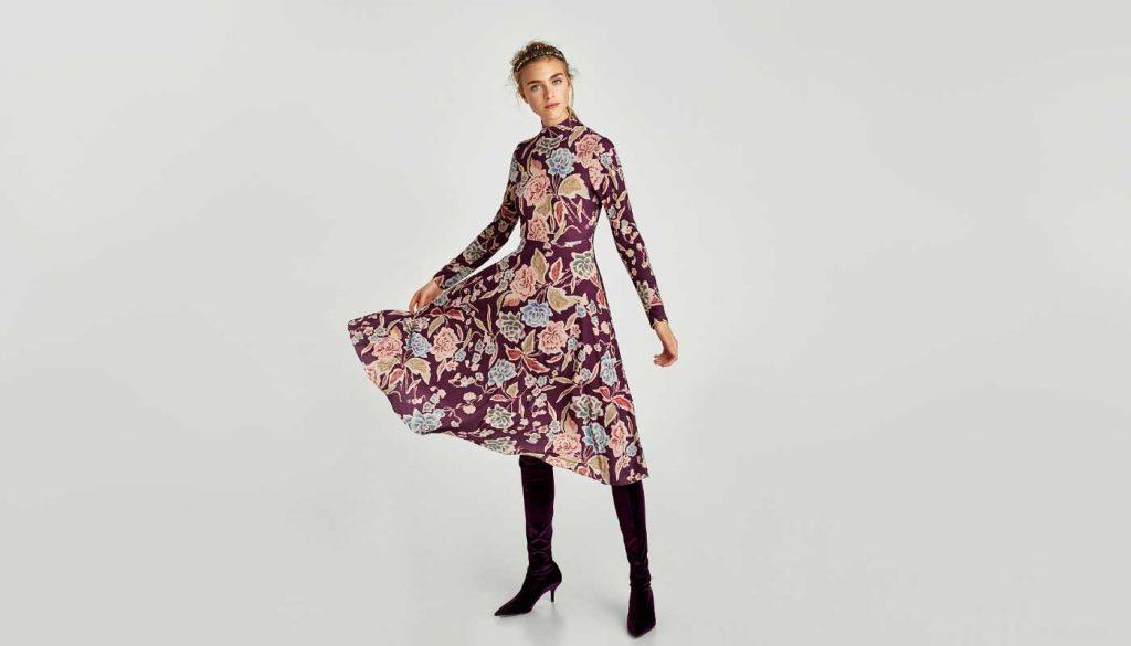 Zara Floral Dress on Figure