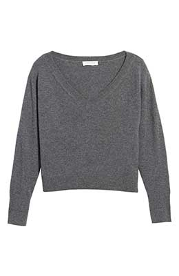 Everlane gray cropped cashmere sweater