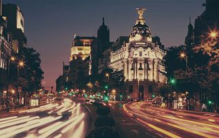The city of Madrid at night