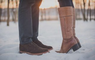 couple in the snow, boots
