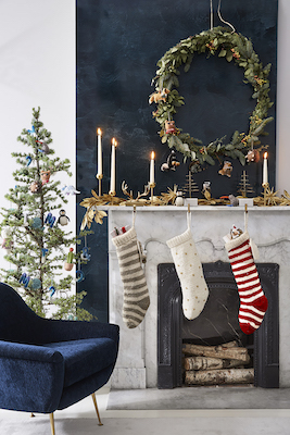 West Elm Holiday Decor - decorated living room