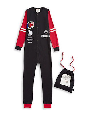 Canadian Olympic Team Collection x Drake General Store Unisex Canada One-Piece Pyjama, $60 at Hudson's Bay.