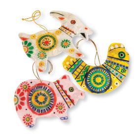 Capiz Shell Animal Ornament Set, $85 at World Vision.