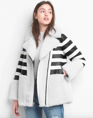 Gap Leather Stripe Shearling Coat, $948 at gapcanada.ca.