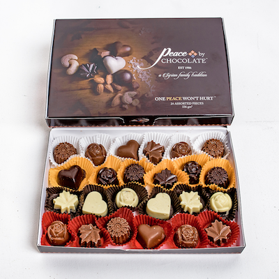 Box of Assorted Chocolates (24 pieces), $22 at Peace by Chocolate.