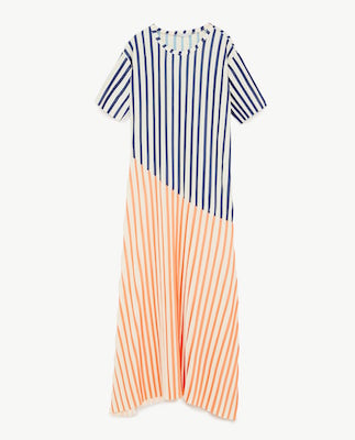 Zara Striped Dress with Pleats, $40 at zara.com