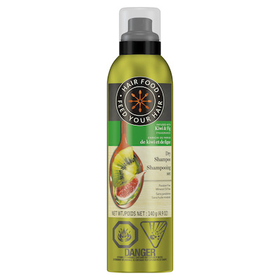 Hair Food Kiwi & Fig Dry Shampoo, $14.99 at mass and drug retailers.