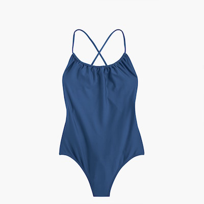 J.Crew Playa Rockaway Ruched One-Piece Swimsuit, starting at $17.99 (from $64.50) at jcrew.com.